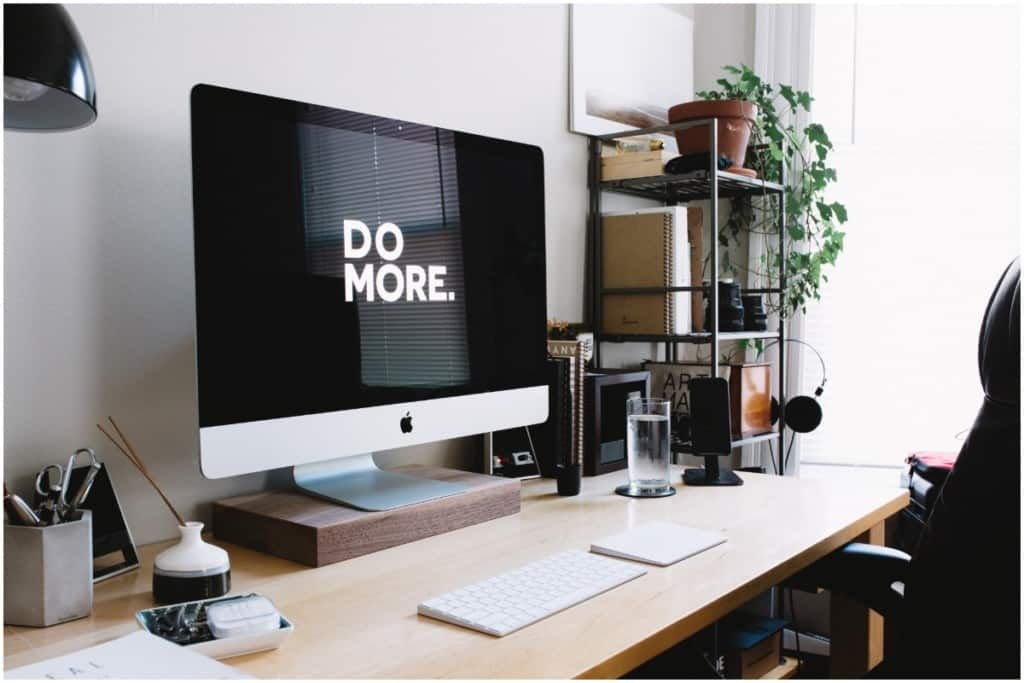 home office design with plants