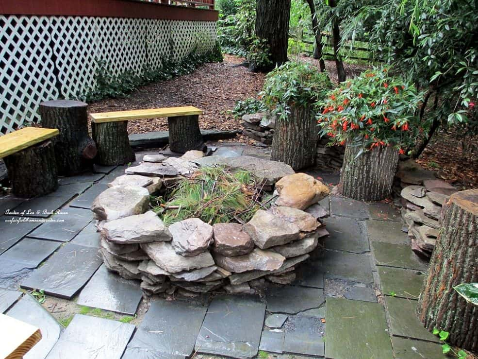 overlaid stone fire pit