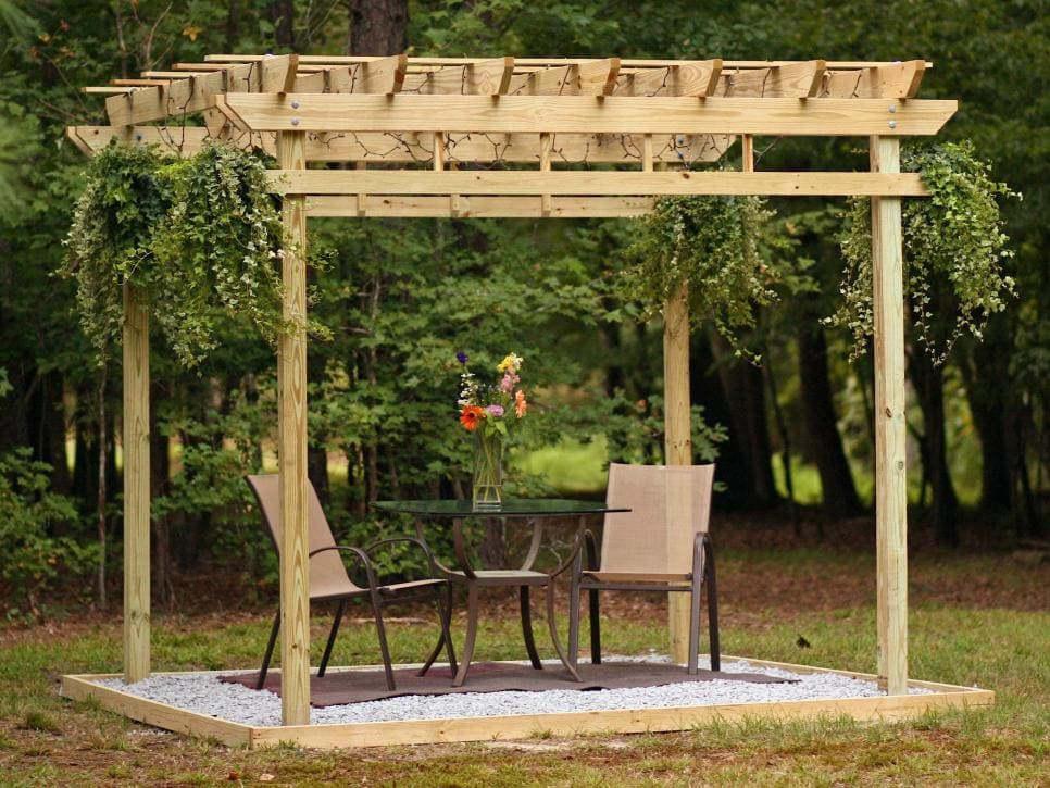 A free standing pergola is another great idea for your backyard oasis