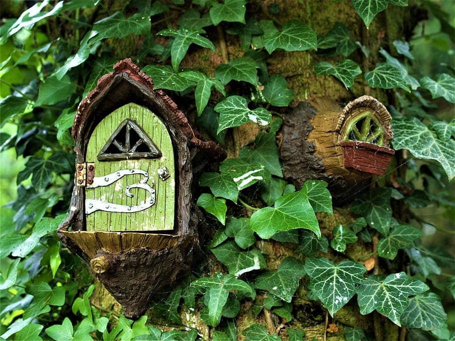 A fairy garden built into a tree is a secret way to enhance your own backyard oasis