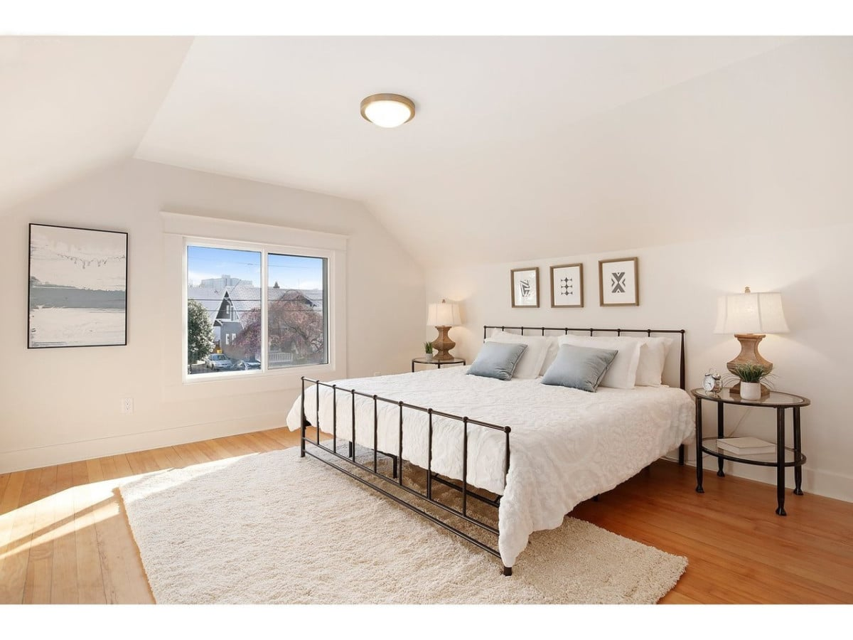 Clean and tidy bedroom with neutral tones